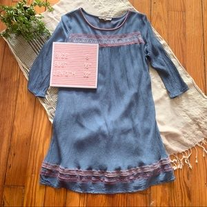 Altar'd State Blue Embroidered Boho Swing Dress